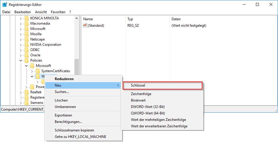 Registry Schlüssel erstellen