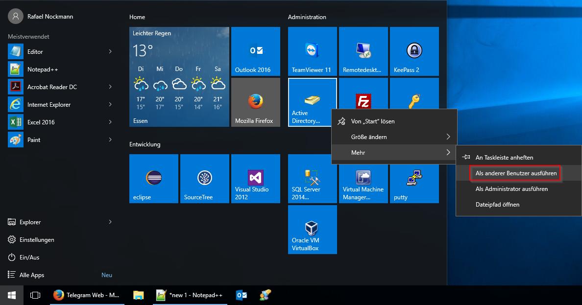 Windows 10 Startmenü: Als anderer Benutzer ausführen