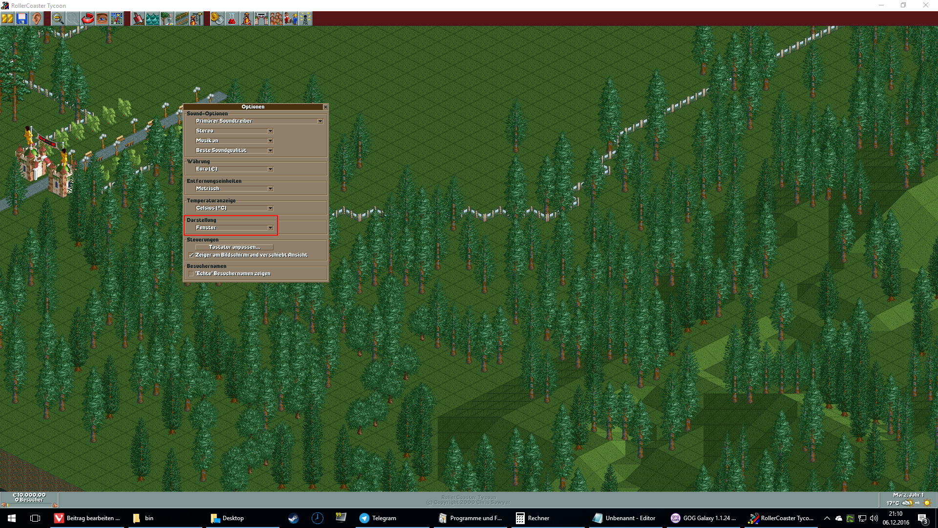 RollerCoaster Tycoon Widescreen Support