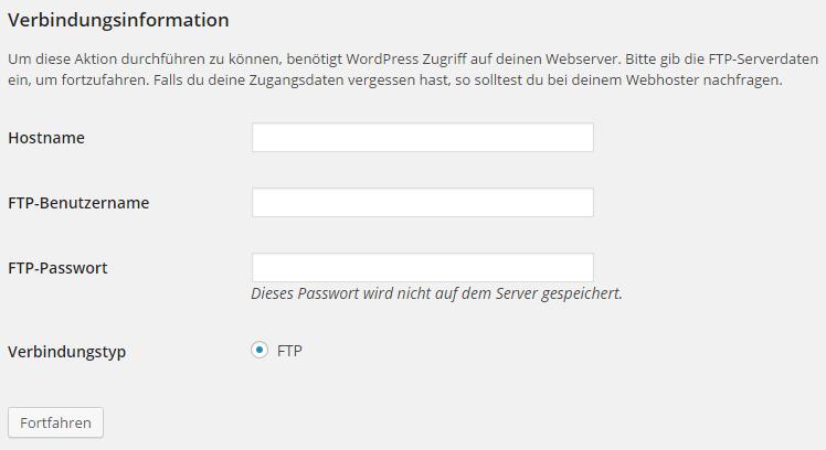 WordPress FTP Fehler