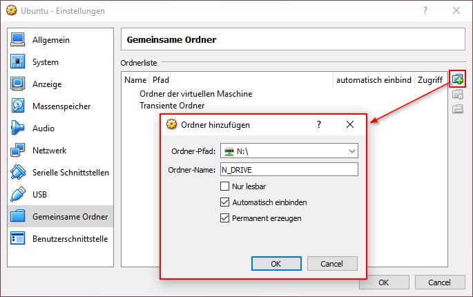 VirtualBox gemeinsamer Ordner