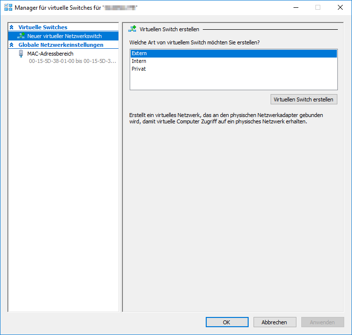 Hyper-V Manager für virtuelle Switche