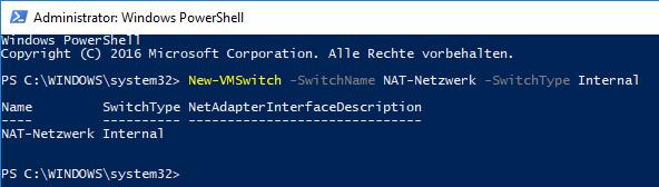 Hyper-V PowerShell internen Switch erstellen