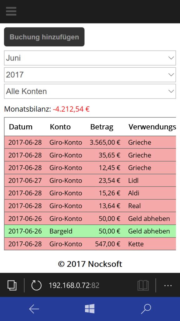 Nocksoft FinanzManager Online Buchungsübersicht