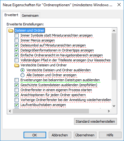 Windows-Explorer GPO Ordneroptionen