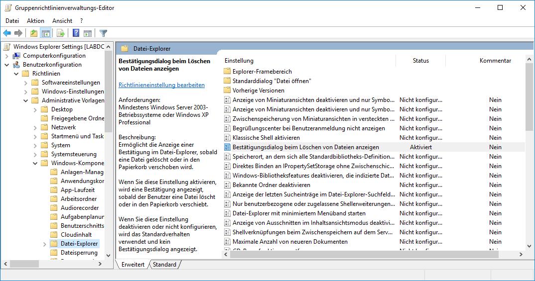 Einstellungen für Windows-Explorer per GPO
