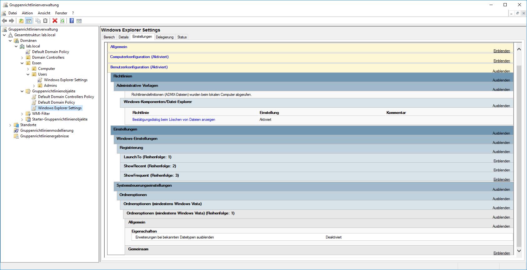 Einstellungen für Windows-Explorer per GPO Übersicht