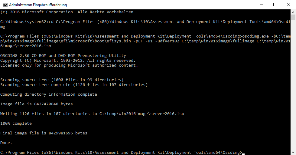 UEFI ISO mit Oscdimg erstellen