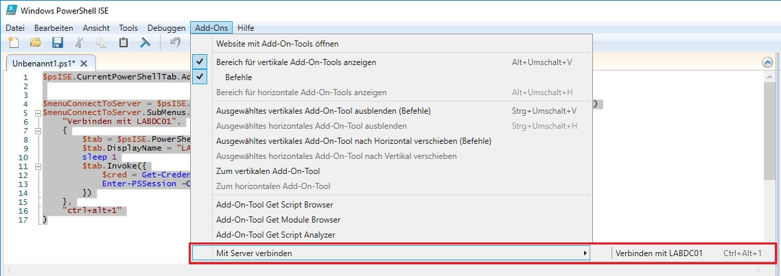 PowerShell ISE Remoteverwaltung Add-On