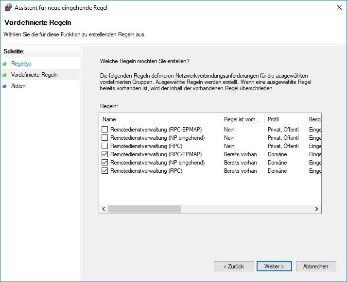 Windows Firewall Remoteverwaltung