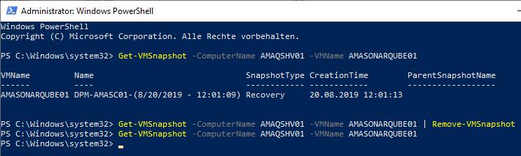 Backup-Snapshots in Hyper-V löschen