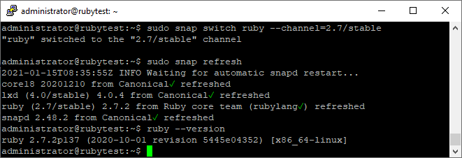 Ubuntu Ruby snap switch Channel