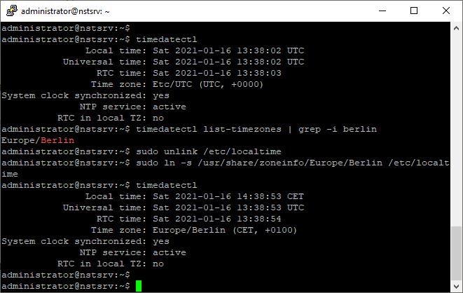 Ubuntu Zeitzone ändern