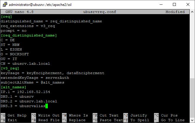 OpenSSL req.conf für SAN-Zertifikat