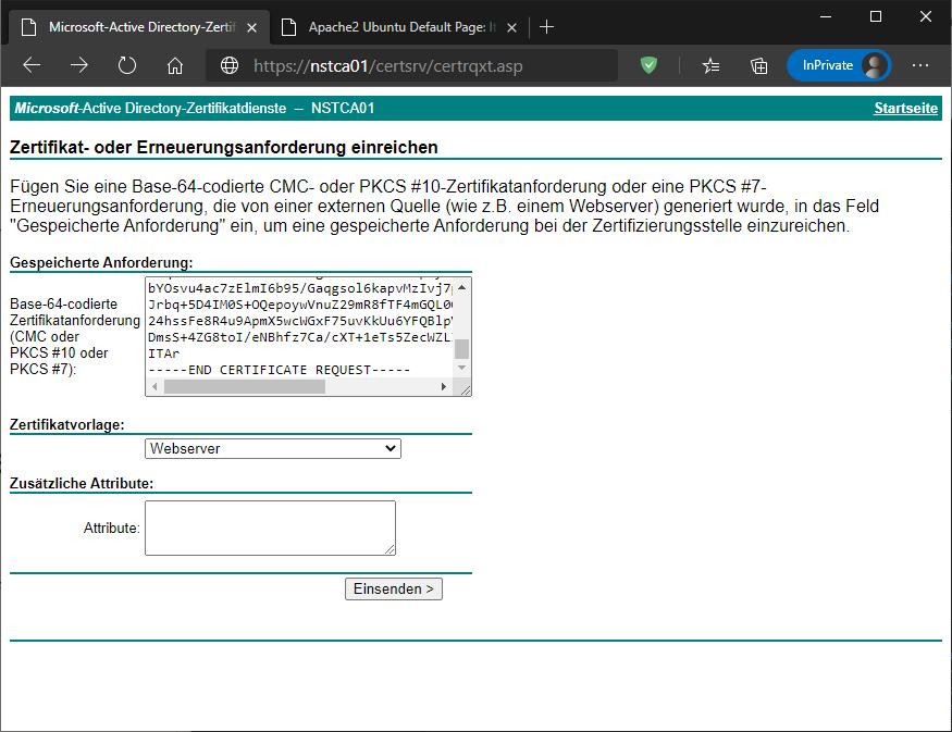 Active Directory Zertifikatsdienste SAN-Zertifikat