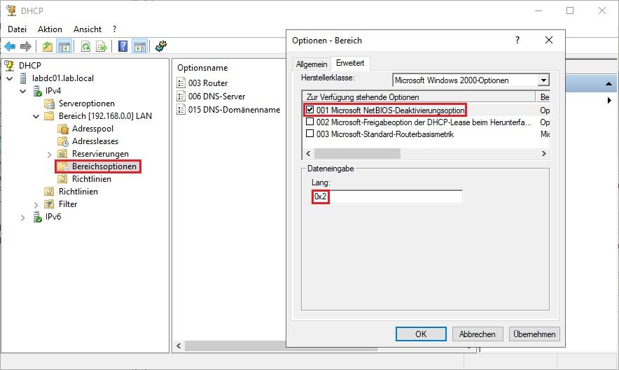 NetBIOS deaktivieren per DHCP-Option