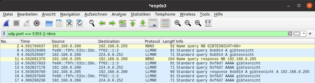 LLMNR NBT-NS poisoned ping Wireshark